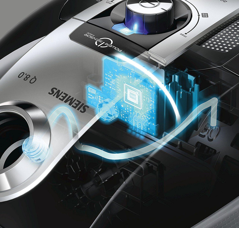 Siemens VSQ8SEN72C Bodenstaubsauger Q8.0 Power Sensor mit Hartbodendüse EEK A (powerSensor Technolog, XXL Staubbeutelvolumen